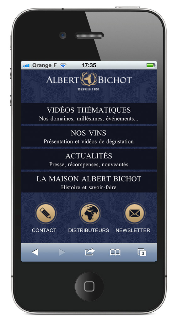 page d'accueil site mobile Albert Bichot