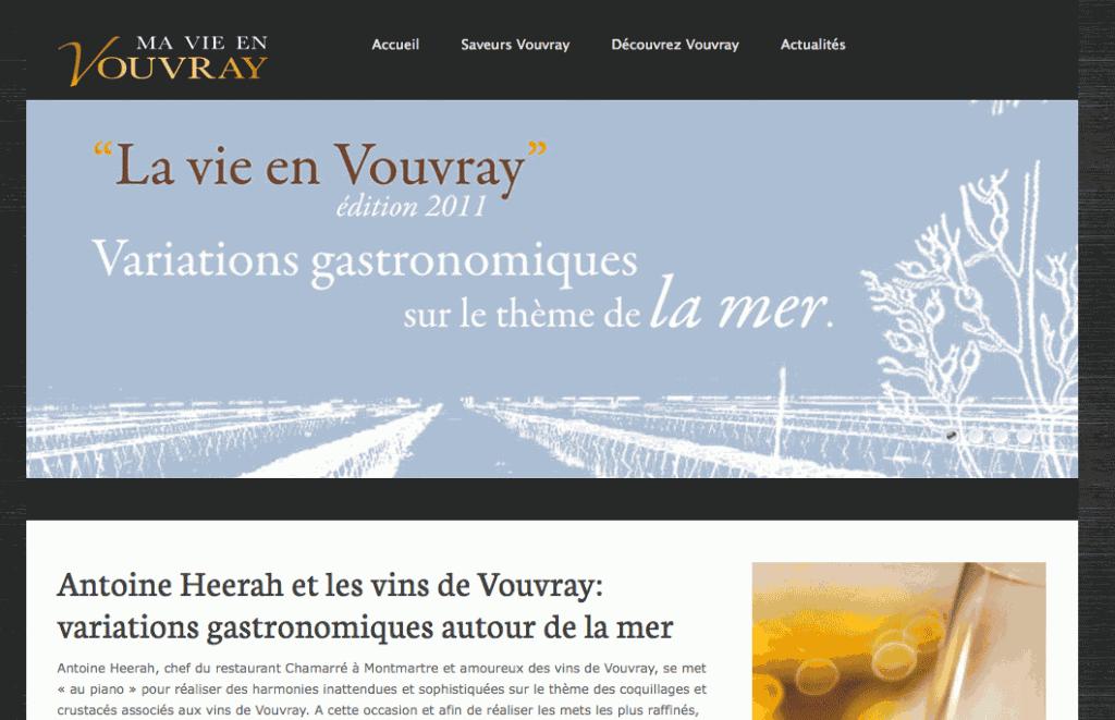 page d'accueil du site www.mavieenvouvray.com