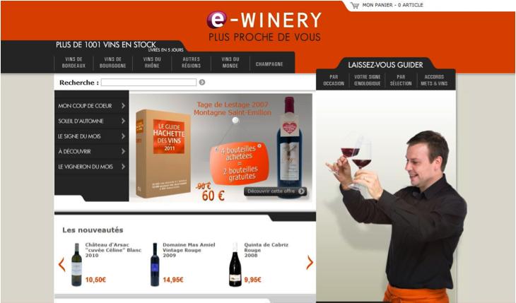 la winery lance e winery son site internet de vente en ligne de vin d cryptage monogramme. Black Bedroom Furniture Sets. Home Design Ideas